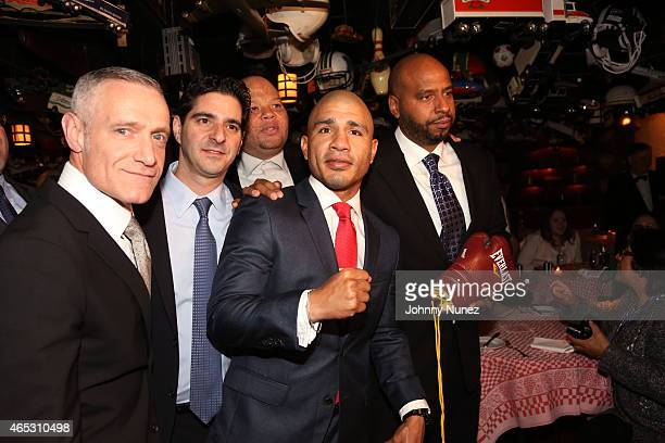 Michael Yormark David Iskowitz Shawn 'Pecas' Costner Miguel Cotto and 'OG' Juan Perez attend the announcement of Miguel Cotto's partnership with Roc...