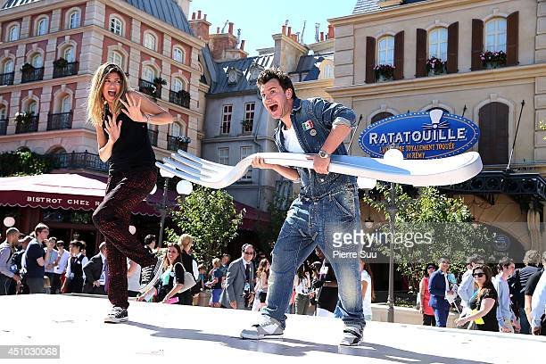 Michael Youn and Isabelle Funaro attend the launch of 'RatatouilleThe Adventure' at Disneyland Resort Paris on June 21 2014 in Paris France
