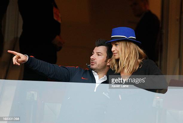 Michael Youn and Isabelle Funaro attend the Quarter Final UEFA Champions League between Paris SaintGermain FC and Barcelona FC at Parc Des Princes on...