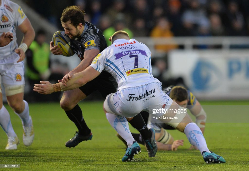 Michael Young of Newcastle Falcons is tackled by Matt Kvesic of Exeter Chiefs during the Aviva Premiership match between Newcastle Falcons and Exeter Chiefs at Kingston Park on January 7, 2018 in Newcastle upon Tyne, England.