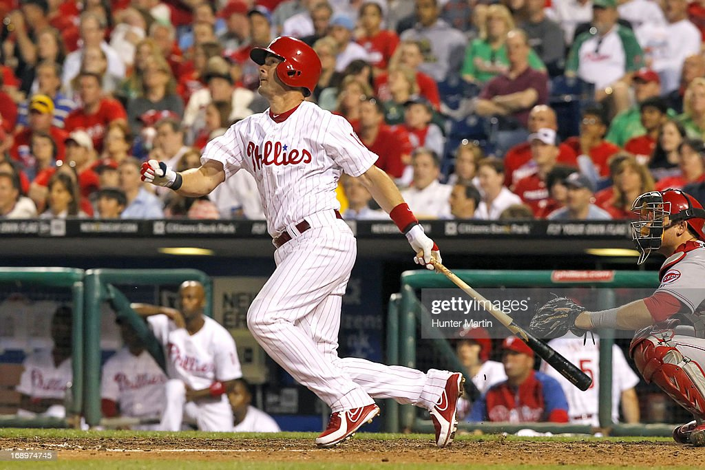 Michael Young #10 of the Philadelphia Phillies hits a triple in the fifth inning during a game against the Cincinnati Reds at Citizens Bank Park on May 17, 2013 in Philadelphia, Pennsylvania. The Phillies won 5-3.