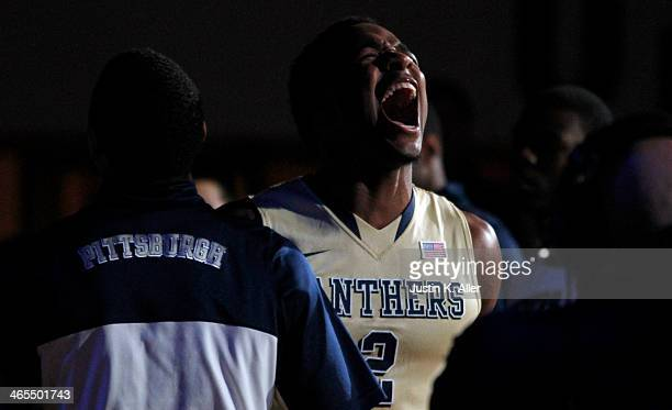 Michael Young of the Pittsburgh Panthers is introduced before the game against the Duke Blue Devils at Petersen Events Center on January 27 2014 in...