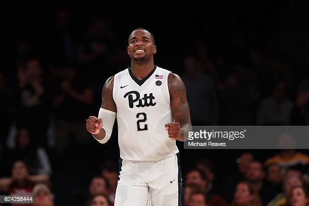 Michael Young of the Pittsburgh Panthers reacts after against the Marquette Golden Eagles in the second half of the 2K Classic at Madison Square...