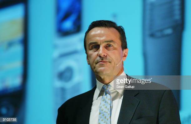 Michael Zafirovski, President and Chief Operating Officer of Motorola, speaks at the ICT World Forum@CeBIT March 17, 2004 March 17, 2004 in Hanover,...