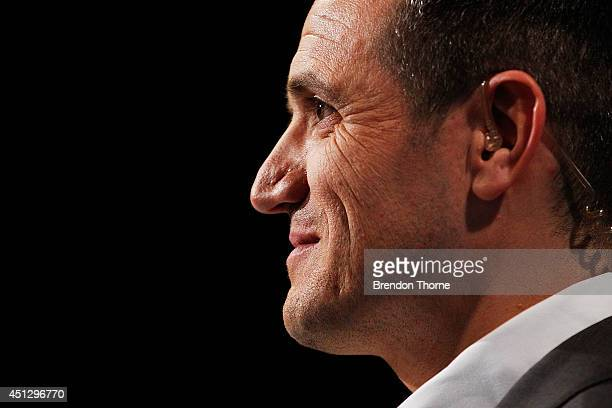 Michael Zappone speaks on camera during the official FFA Cup draw at Fox Sports Studios on June 27 2014 in Sydney Australia