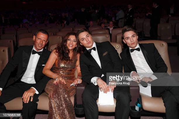 Michael Zechbauer his wife Alice Brauner and her sons David Brauner and Ben Brauner during the 100th birthday celebration gala for Artur Brauner at...