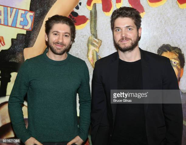 Michael Zegen and Philip Ettinger pose at The Opening Night of 'Admissions' at The Mitzi E Newhouse Theater Lobby on March 12 2018 in New York City