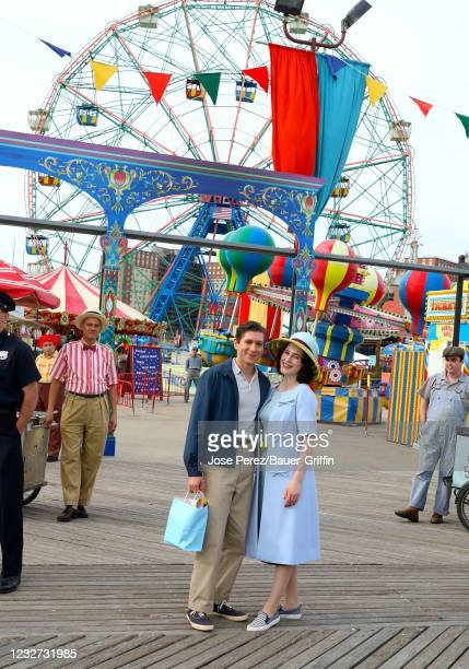 """Michael Zegen and Rachel Brosnahan are seen on the set of """"The Marvelous Mrs. Maisel"""" on May 06, 2021 in New York City."""