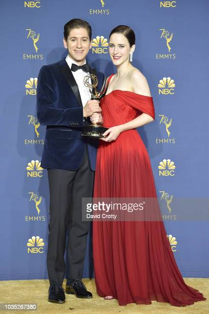 Michael Zegen and Rachel Brosnahan attend the 70th Emmy Awards Press Room at Microsoft Theater on September 17 2018 in Los Angeles California