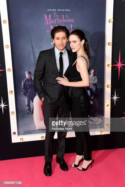 Michael Zegen and Rachel Brosnahan attend the The Marvelous Mrs Maisel New York Premiere at The Paris Theatre on November 29 2018 in New York City