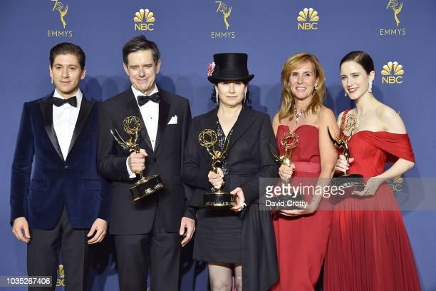 Michael Zegen Daniel Palladino Amy ShermanPalladino Dhana Gilbert and Rachel Brosnahan attend the 70th Emmy Awards Press Room at Microsoft Theater on...