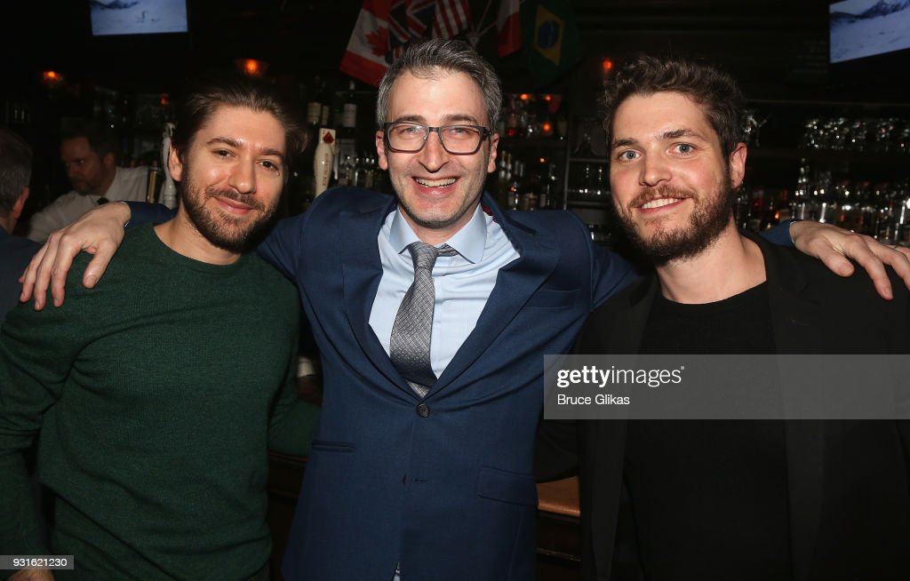 Michael Zegen, Director Daniel Aukin and Philip Ettinger pose at The Opening Night after Party for 'Admissions' at PJ Clarke's on March 12, 2018 in New York City.