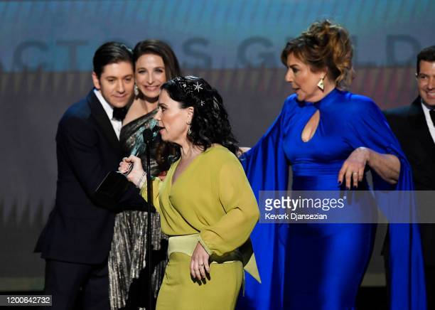 Michael Zegen Marin Hinkle Alex Borstein and Caroline Aaron accept Outstanding Performance by an Ensemble in a Comedy Series for 'The Marvelous Mrs...