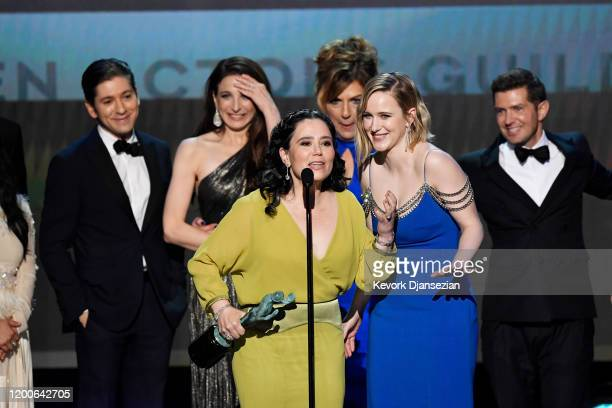 Michael Zegen Marin Hinkle Alex Borstein Caroline Aaron Rachel Brosnahan and Joel Johnstone accept Outstanding Performance by an Ensemble in a Comedy...