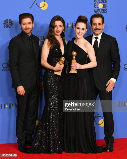 Michael Zegen Marin Hinkle Rachel Brosnahan and Tony Shalhoub pose with the award for Best Television Series Musical or Comedy for 'The Marvelous Mrs...