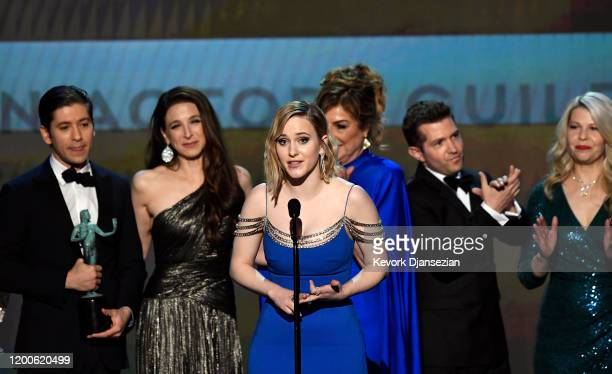 Michael Zegen Marin Hinkle Rachel Brosnahan Caroline Aaron Joel Johnstone and Matilda Szydagis accept Outstanding Performance by an Ensemble in a...