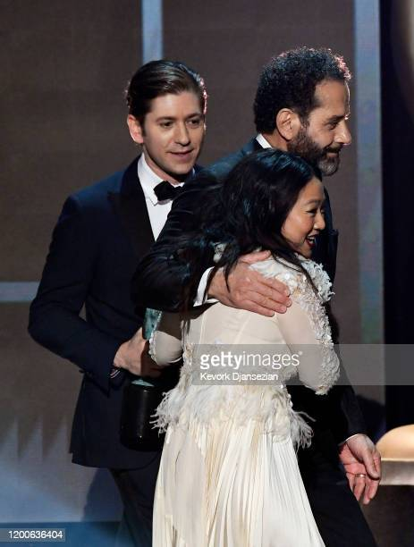 Michael Zegen Tony Shalhoub and Stephanie Hsu accept Outstanding Performance by an Ensemble in a Comedy Series for 'The Marvelous Mrs Maisel' onstage...