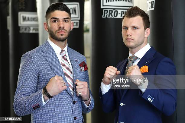 Michael Zerafa and Jeff Horn face off during 'The Reckoning' media opportunity with Jeff Horn and Michael Zerafa at Fortitude Boxing Gym on October...