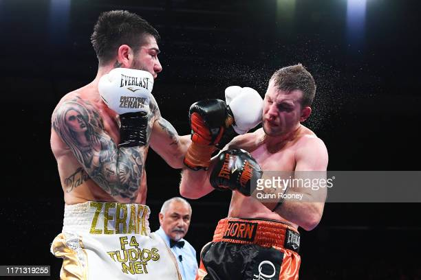 Michael Zerafa lands a punch to Jeff Horn during the Australian Middleweight bout between Jeff Horn and Michael Zerafa at Bendigo Stadium on August...