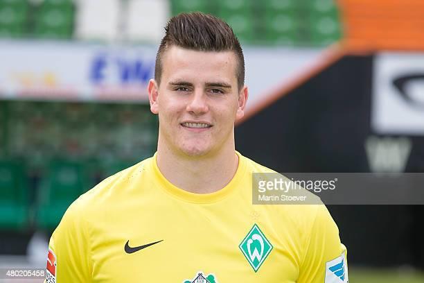 Michael Zetterer poses during the official team presentation of Werder Bremen at Weserstadion on July 10 2015 in Bremen Germany