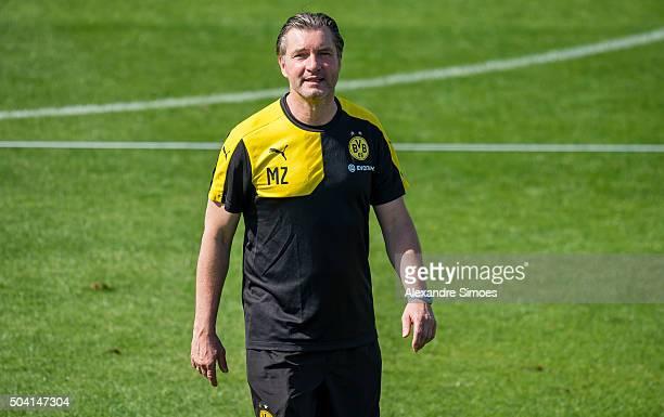Michael Zorc during a training session of the Borussia Dortmund training camp at Dubai Nad Al Sheba Sports Complexon January 9 2016 in Dubai United...