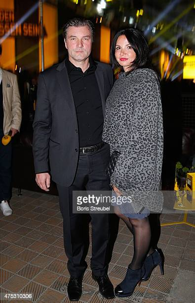 Michael Zorc manager of Dortmund pose with his wife Jola Zorc during the Borussia Dortmund Champions party after the DFB Cup final 2015 at Kraftwerk...