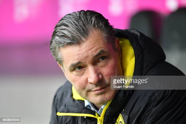 Michael Zorc sporting director of Dortmund looks on before the Bundesliga match between FC Bayern Muenchen and Borussia Dortmund at Allianz Arena on...
