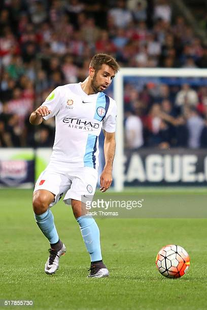 Michael Zullo of Melbourne City controls the ball during the round 25 ALeague match between Melbourne City FC and the Wellington Phoenix at AAMI Park...