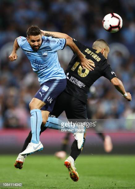 Michael Zullo of Sydney competes with Jaushua Sotirio of the Wanderers during the round two ALeague match between Sydney FC and the Western Sydney...