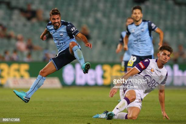 Michael Zullo of Sydney during the round 13 ALeague match between Sydney FC and Perth Glory at Allianz Stadium on December 30 2017 in Sydney Australia