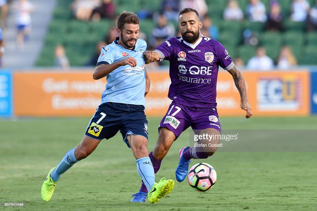Michael Zullo of Sydney FC and Diego Castro of the Glory contest the ball during the round 24 A-League match between Perth Glory and Sydney FC at nib Stadium on March 26, 2017 in Perth, Australia.