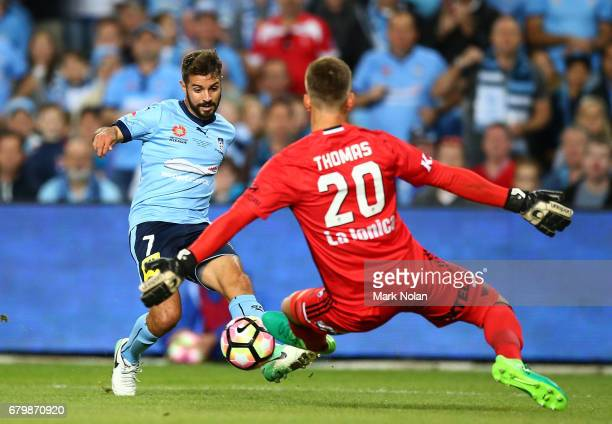 Michael Zullo of Sydney FC attacks during the 2017 ALeague Grand Final match between Sydney FC and the Melbourne Victory at Allianz Stadium on May 7...