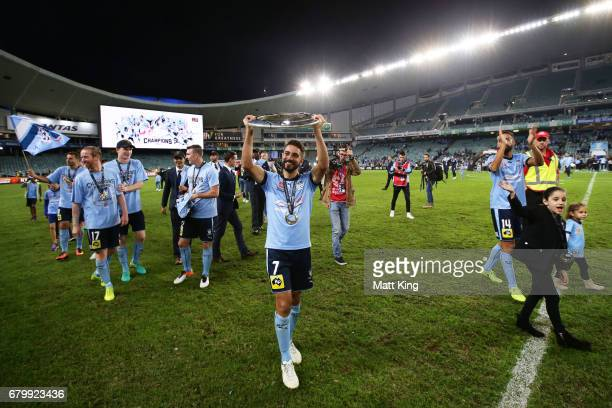 Michael Zullo of Sydney FC celebrates victory after the 2017 ALeague Grand Final match between Sydney FC and the Melbourne Victory at Allianz Stadium...