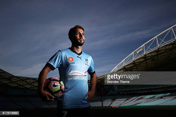 Michael Zullo of Sydney FC poses during an ALeague press conference at ANZ Stadium on October 6 2016 in Sydney Australia