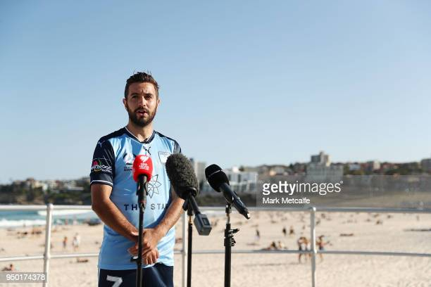 Michael Zullo of Sydney FC speaks to media during the ALeague trophy during a Sydney FC ALeague Semi Final media opportunity at Bondi Beach on April...