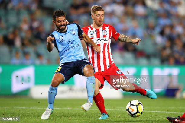 Michael Zullo of Sydney FC tries to stop the shot from Luke Brattan of City FC as he scores a goal during the round 11 ALeague match between Sydney...