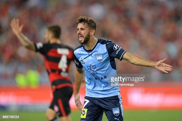 Michael Zullo of Sydney reacts to the referee during the round 10 ALeague match between the Western Sydney Wanderers and Sydney FC at ANZ Stadium on...
