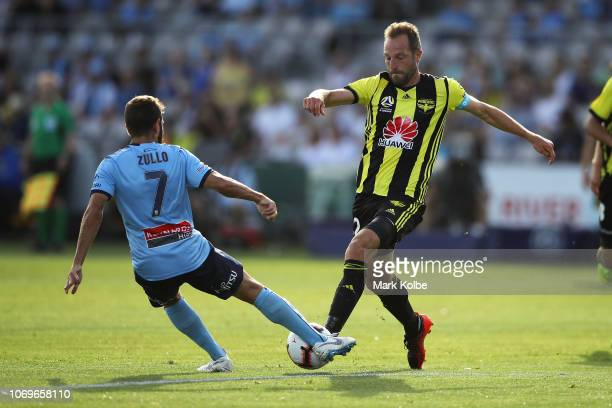 Michael Zullo Sydney FC and Andrew Durante of the Phoenix compete for the ball during the round seven ALeague match between Sydney FC and the...