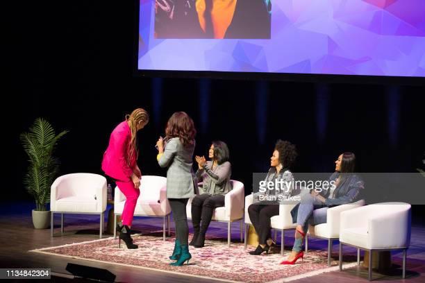 Michaela Angela Davis Gia Peppers Tatyana Ali Eunique Jones Gibson and Jazmine Sullivan onstage for Black Girl Magic panel during BGR Fest Day 2 at...