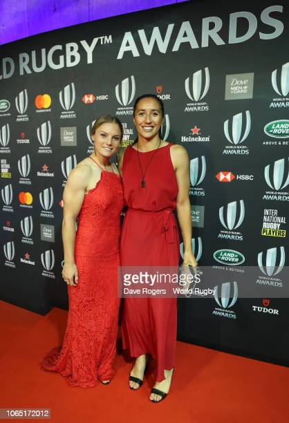 Michaela Blyde and Sarah Goss of New Zealand attend the World Rugby via Getty Images Awards 2018 at the Monte-Carlo Sporting Club on November 25,...