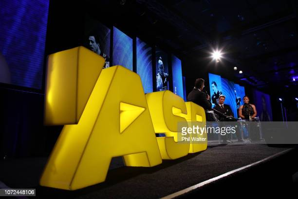Michaela Blyde and Scott Curry speak on stage during the 2018 ASB Rugby Awards at SkyCity Convention Centre on December 13 2018 in Auckland New...