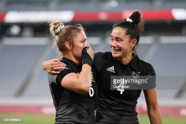 Michaela Blyde and Shiray Kaka of Team New Zealand celebrate after defeating Team France in the Women's Gold Medal match between Team New Zealand and...