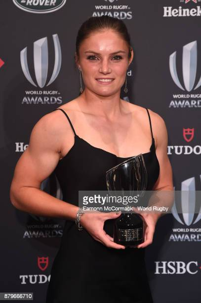 Michaela Blyde of New Zealand poses with the World Rugby Women's Sevens Player of the Year Award in association with HSBC during the World Rugby...