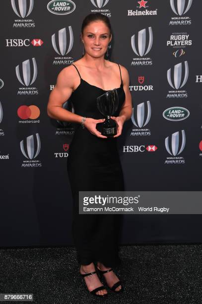 Michaela Blyde of New Zealand poses with the World Rugby via Getty Images Women's Sevens Player of the Year Award in association with HSBC during the...