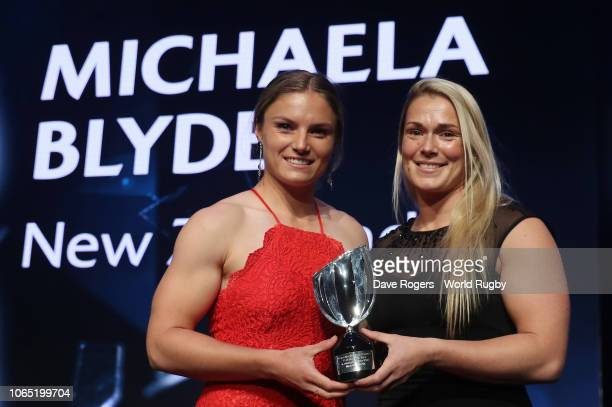Michaela Blyde of New Zealand receives the World Rugby via Getty Images Women's Sevens Player of the Year in association with HSBC from Rachel...