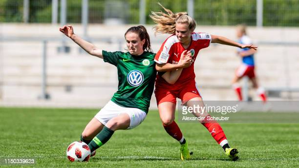 Michaela Brandenburg of Wolfsburg in action against Margarita Gidion of Frankfurt during the 2 Frauen Bundesliga match between 1 FFC Frankfurt II and...