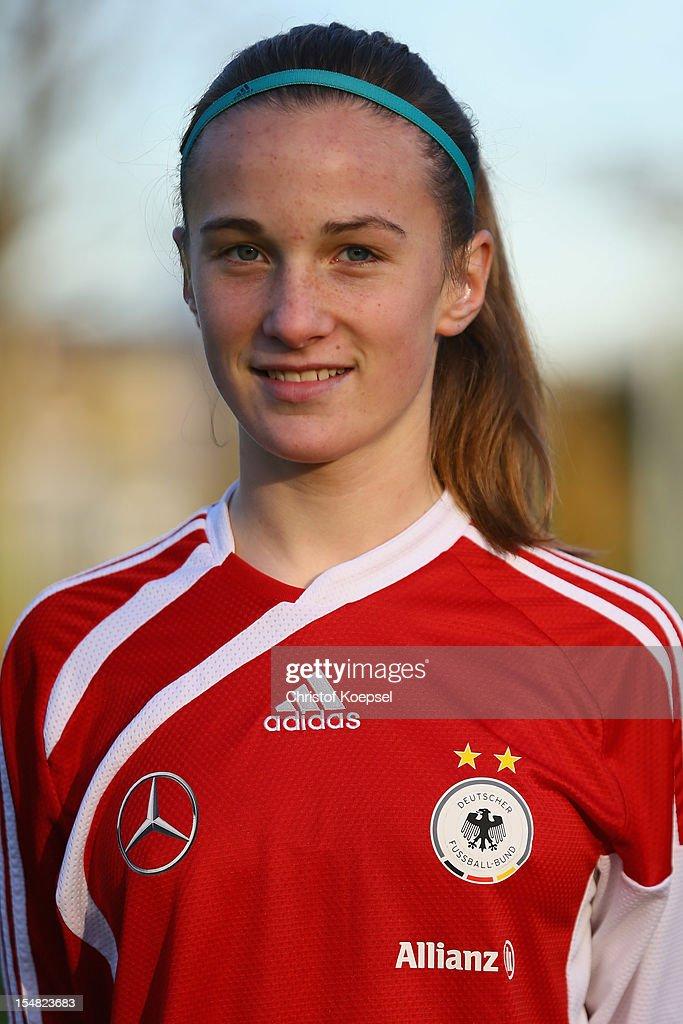 Michaela Brandenburg poses during the Germany Women's U17 team presentation at Sport School Wedau on October 27, 2012 in Duisburg, Germany.