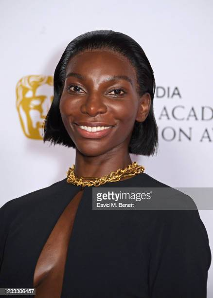 """Michaela Coel, accepting the Best Mini-Series award for """"I May Destroy You"""", poses in the Winners Room at the Virgin Media British Academy Television..."""