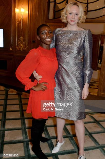 Michaela Coel and Gwendoline Christie attend The Academy Of Motion Pictures Arts and Sciences Women's Initiative Lunch at Claridge's Hotel on October...