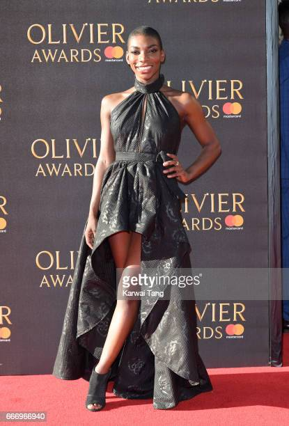 Michaela Coel arrives for The Olivier Awards 2017 at the Royal Albert Hall on April 9 2017 in London England